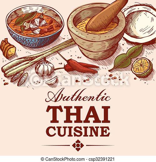 Thai food drawing. Hand drawn of thai food and ingredients.