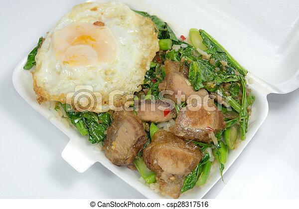 Thai food - Stir fry crispy pork with Kale (Kana Moo Grob)