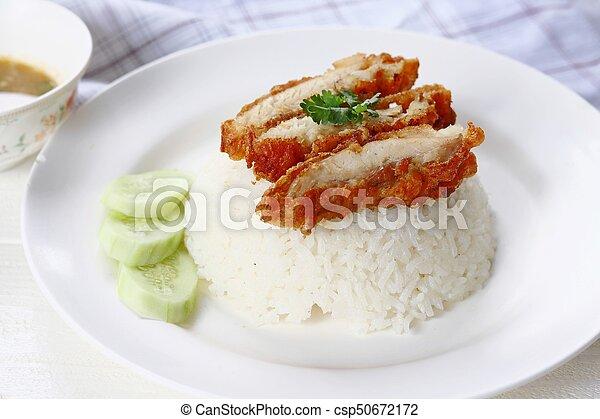Thai gourmet fried chicken with rice - csp50672172