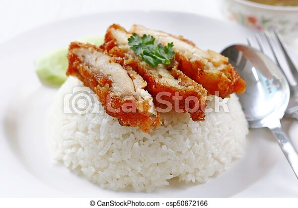 Thai gourmet fried chicken with rice - csp50672166