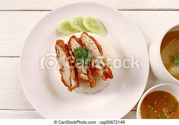 Thai gourmet fried chicken with rice - csp50672149