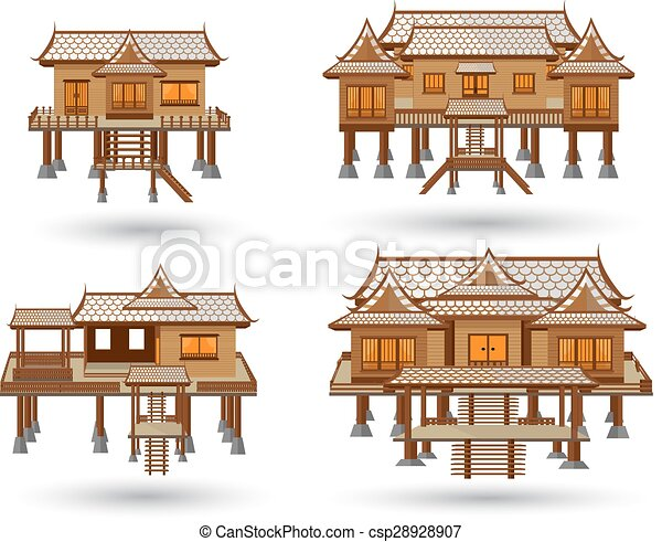 Thai House Vector Made From Wood Clipart Search