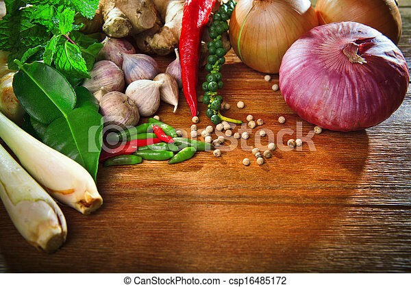 thai kitchen food spice herb  pepper mint lemon grass red onion garlic chilly ginger for cooking original eastern food syle on top wood table  - csp16485172