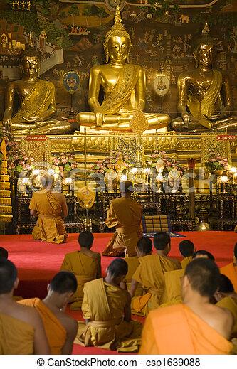 Thai Monks Worshipping - csp1639088