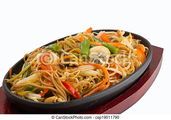 Thai noodles with vegetables isolated on white background - csp19011790