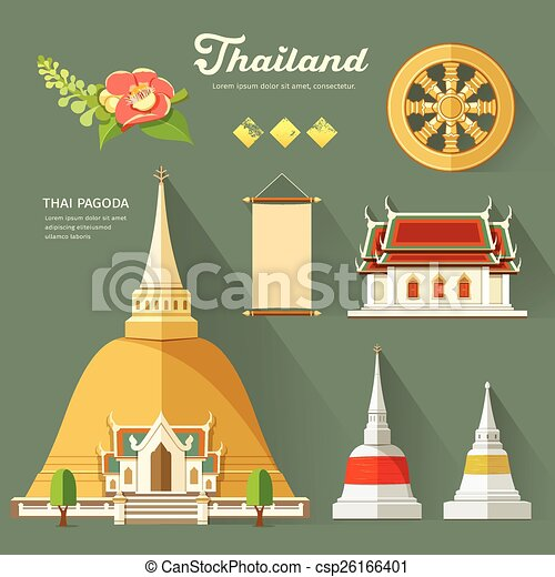 Thai Pagoda with temple - csp26166401