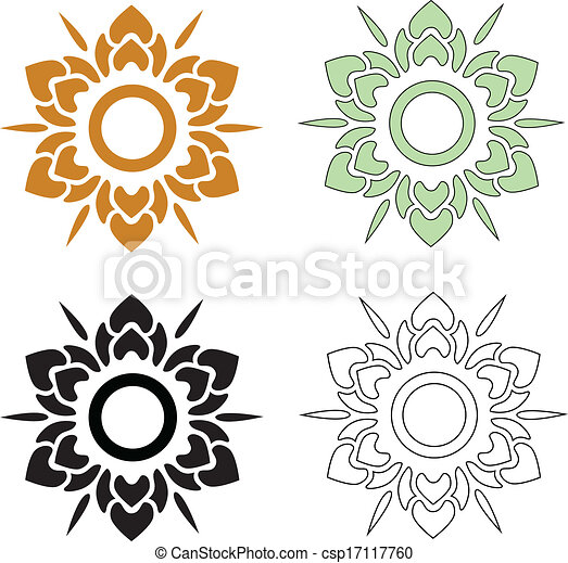 thai pattern flower beautiful flower vector set of thai clip art rh canstockphoto com rose flower vector art flower vector art black and white