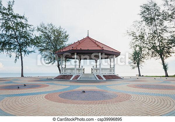 Thai pavilion on the colorful cement block near sea - csp39996895