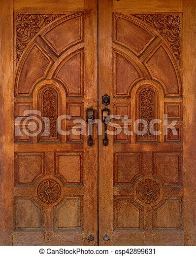 Thai Style Antique Carved Wooden Door Of Teak Wood   Csp42899631