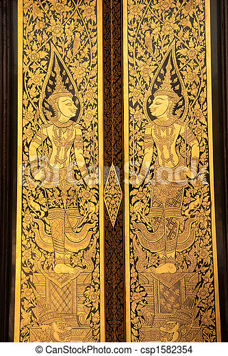 Thai style church doors. - csp1582354 & Thai style church doors. Traditional thai style painting on... stock ...