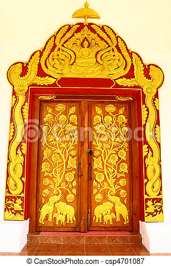 Thai style temple door - csp4701087  sc 1 st  Can Stock Photo & Thai style temple door. Elaborate molding on entrance of churchnong ...