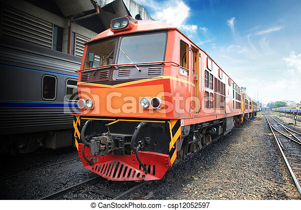 Thai train arriving at station - csp12052597