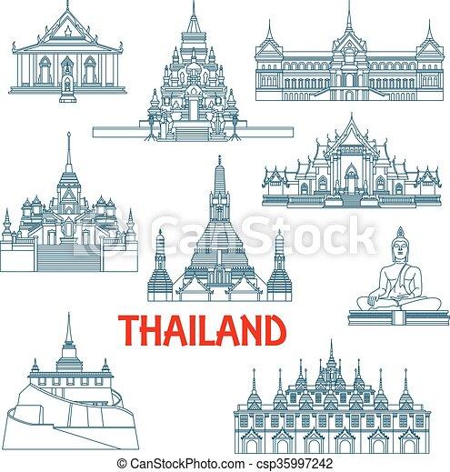 Thai travel landmarks thin line icons - csp35997242