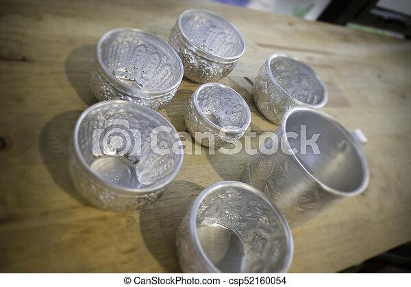 Thai vintage pattern silver cups - csp52160054