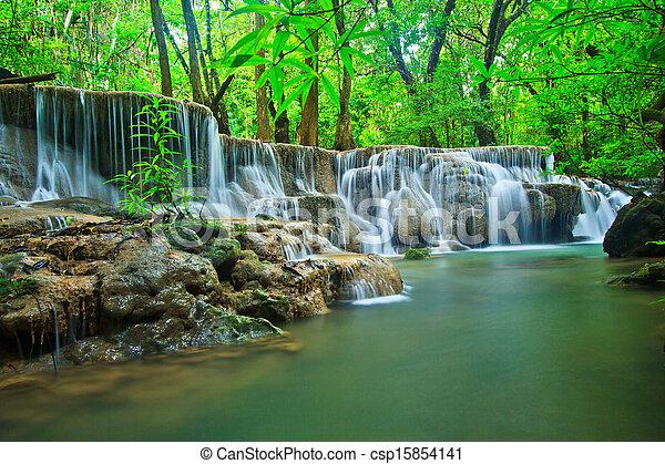 thaiföld, vízesés, erdő, kanchanaburi - csp15854141