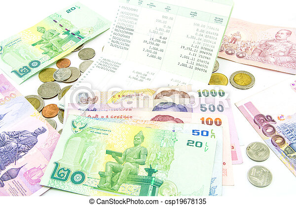 Thailand banknotes and coins - csp19678135