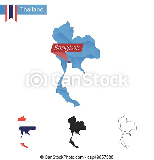 Thailand blue low poly map with capital bangkok. Thailand blue low ...