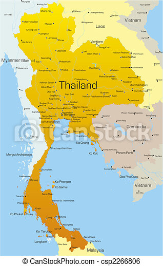Vector map of thailand country.