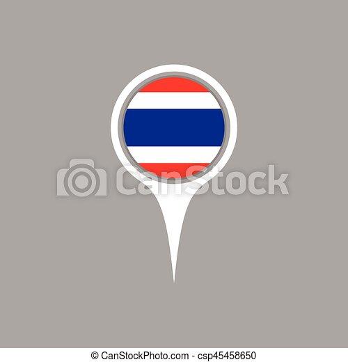 Thailand flag location map icon , Vector illustration. - csp45458650