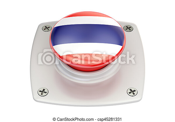 Thailand flag push button, 3D rendering - csp45281331