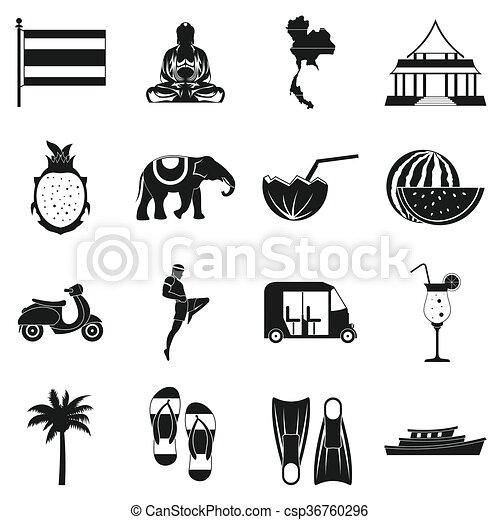 Thailand icons set, simple style - csp36760296