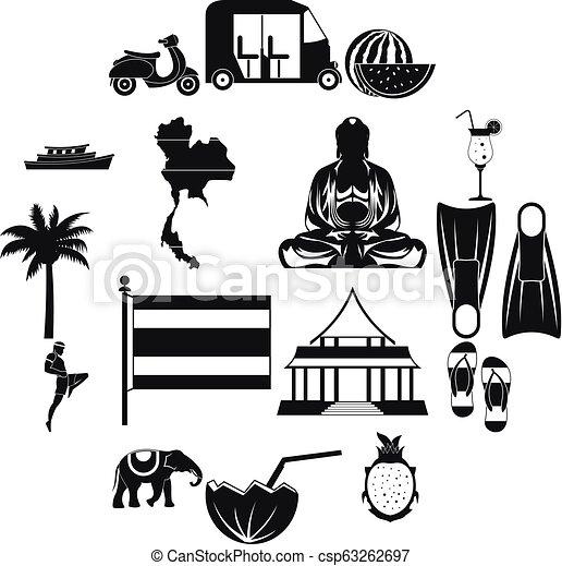 Thailand icons set, simple style - csp63262697