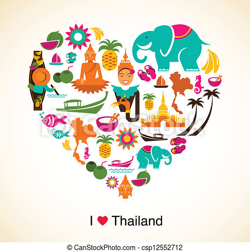 Thailand love - heart with thai icons and symbols - csp12552712