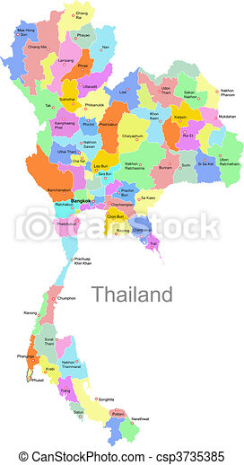 Color Thailand Map With Regions Over White Clipart Vector Search - Thailand map