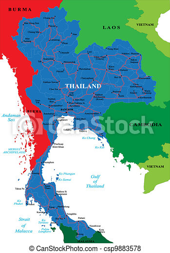 Thailand map. Highly detailed vector map with administrative ...