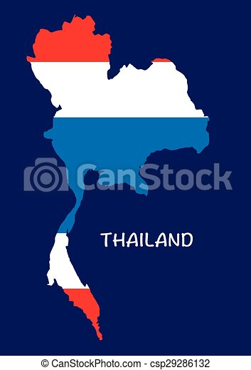 Thailand map with flag inside, thailand map vector, map ...