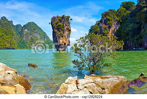 Thailand nature. James Bond island view tropical landscape  - csp12828224