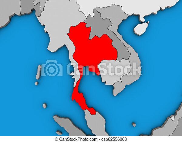 Thailand on 3D map - csp62556063
