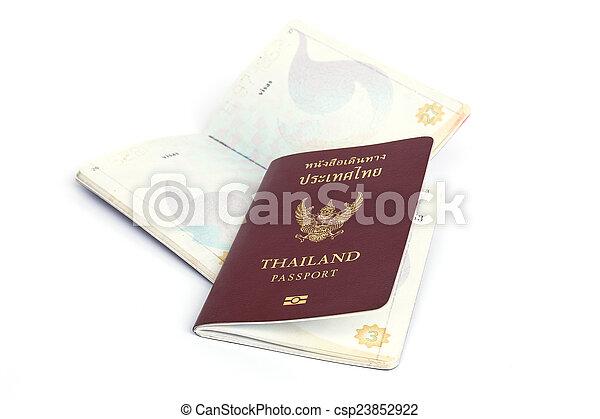 Thailand Passport isolated on white background - csp23852922