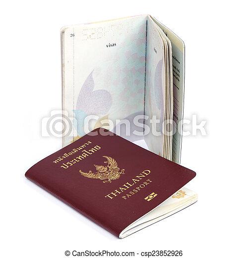 Thailand Passport isolated on white background - csp23852926