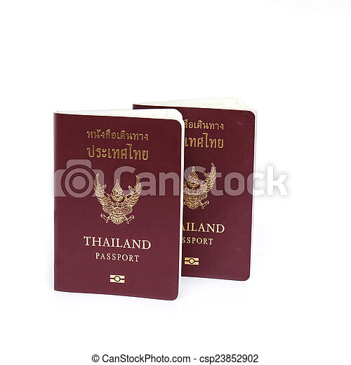 Thailand Passport isolated on white background - csp23852902