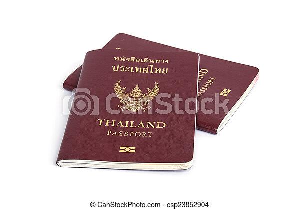 Thailand Passport isolated on white background - csp23852904
