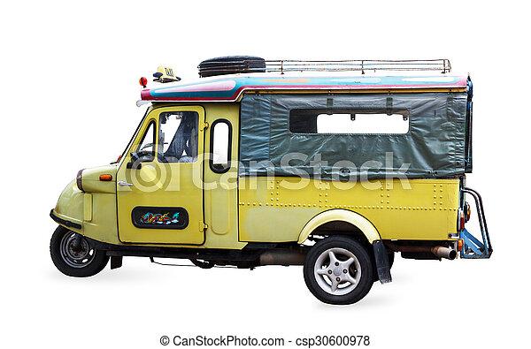Thailand symbol tourist taxi vehicle car tuk tuk isolated on white