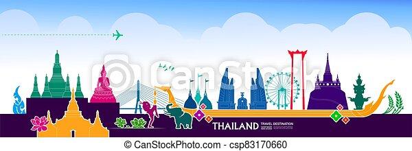Thailand travel destination grand vector illustration. - csp83170660