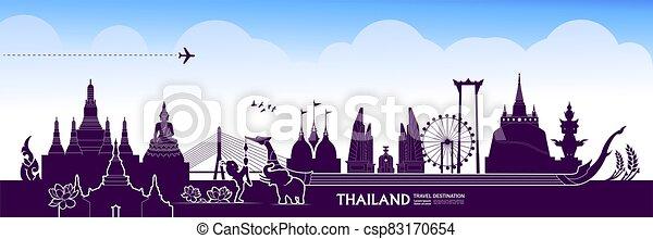 Thailand travel destination grand vector illustration. - csp83170654