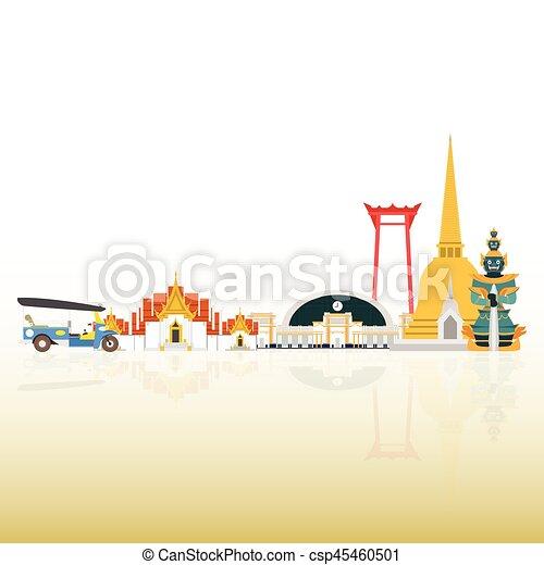 Thailand Travel Landmarks. Vector and Illustration - csp45460501