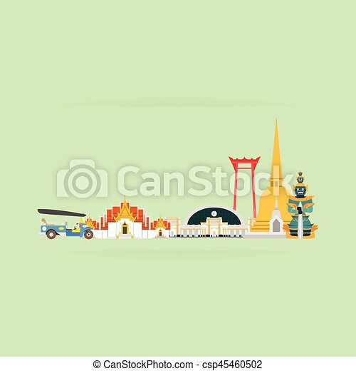 Thailand Travel Landmarks. Vector and Illustration - csp45460502