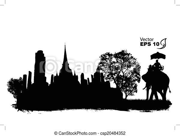 thailand travel, vector illustratio - csp20484352