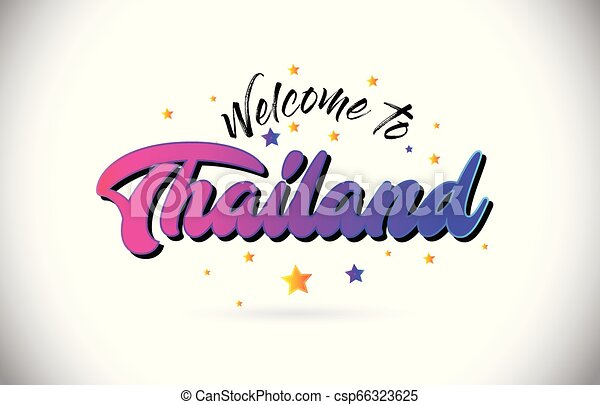 Thailand Welcome To Word Text with Purple Pink Handwritten Font and Yellow Stars Shape Design Vector. - csp66323625