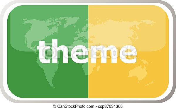 thame. Flat web button icon. World map earth icon. Vector illustration - csp37034368