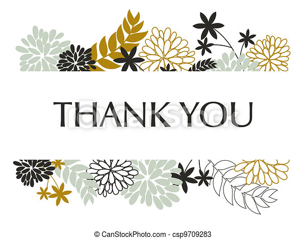 Thank you card a greeting card template with floral decoration thank you card csp9709283 m4hsunfo