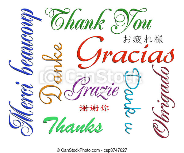 Thank you card many languages - csp3747627