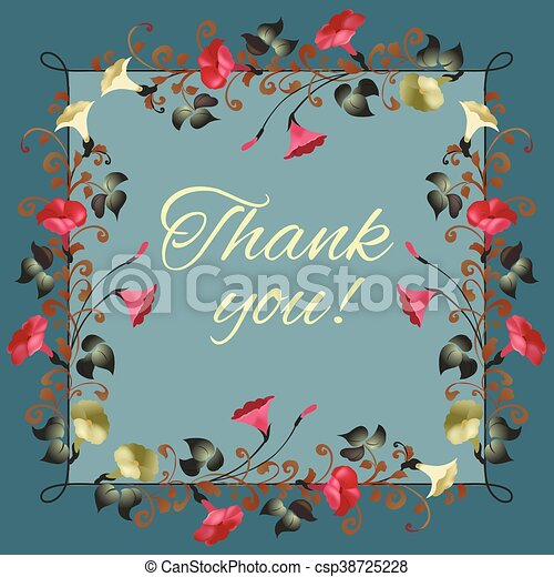 Floral Thank You Card With Beautiful Vintage Flowers Perfect For