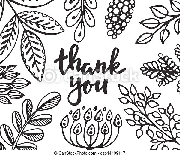 Thank You Card With Hand Drawn Flowers Leaves And Branches Thank
