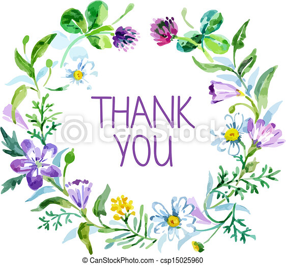 Thank you card with watercolor floral bouquet. Vector illustration - csp15025960