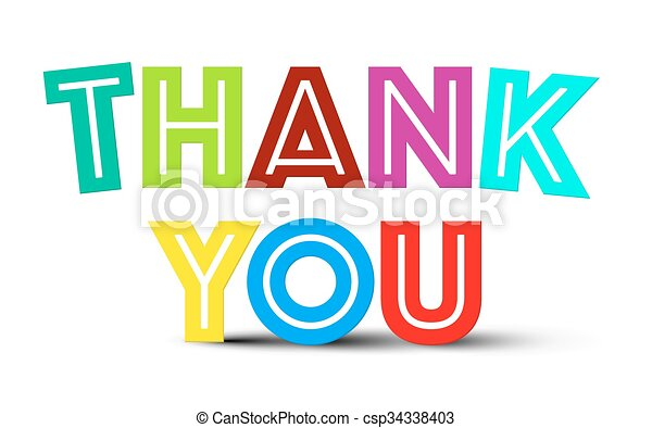 Thank You Colorful Title on White Background - csp34338403